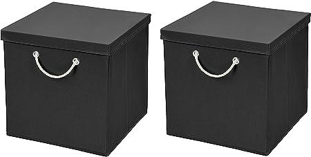 Caja de almacenaje, 30 x 30 x 30 cm, con tapa, Negro , 2 unidades: Amazon.es: Hogar