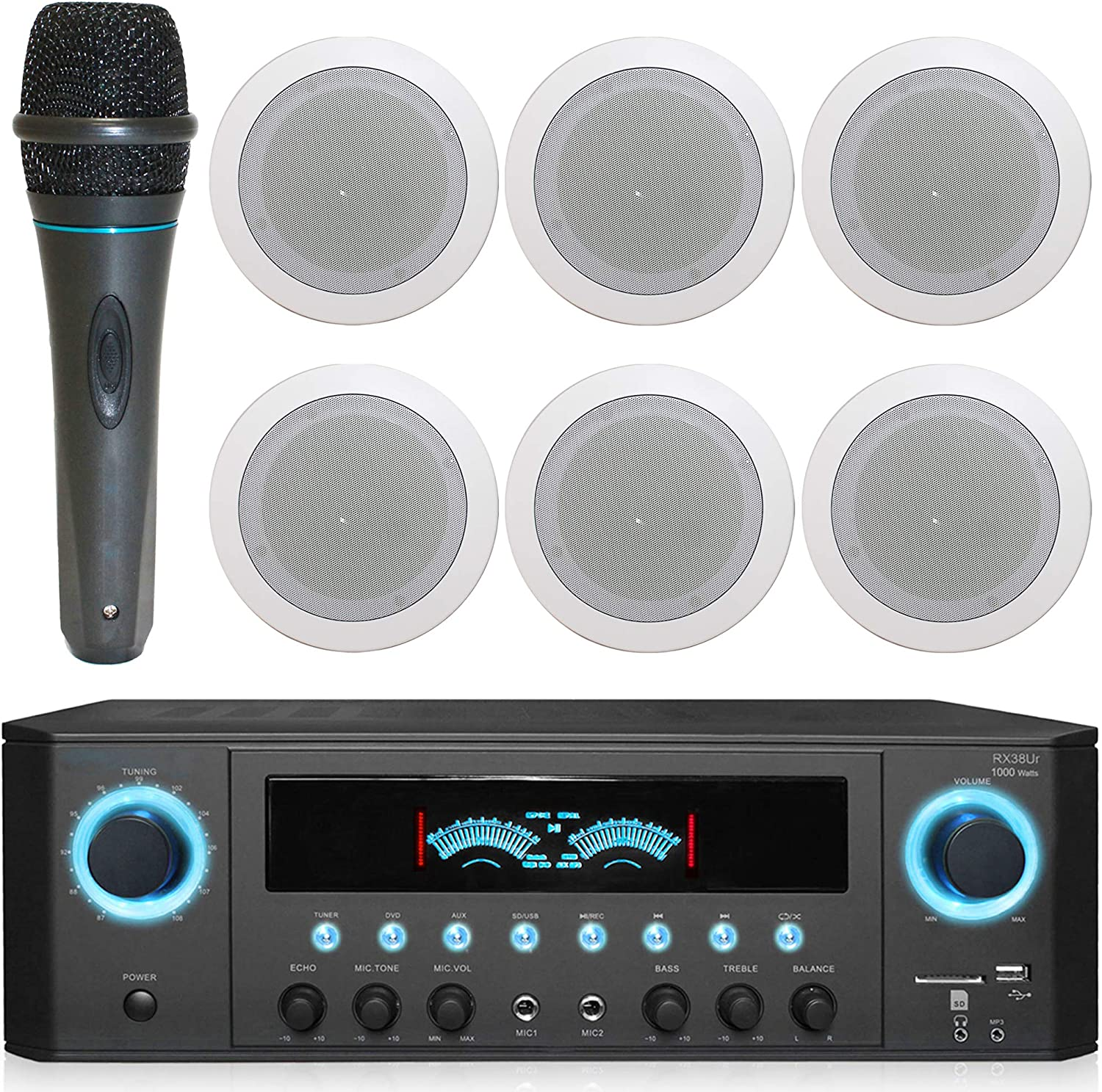 1000 Watts Home System w/USB and SD Card Inputs, (Qty 6) 6.5 Flush Mount in-Wall/in-Ceiling Stereo Speakers, Mic w/10 Ft Cable
