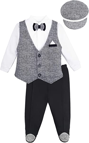 6682189769d Lilax Baby Boys Long Sleeve Gentleman Outfit Vest with Hat and Pant 4 Piece  Set 6M