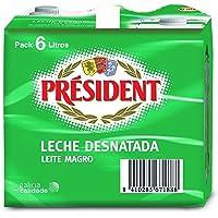 President Leche Desnatada - Pack de 6 x 1 l - Total: 6 l