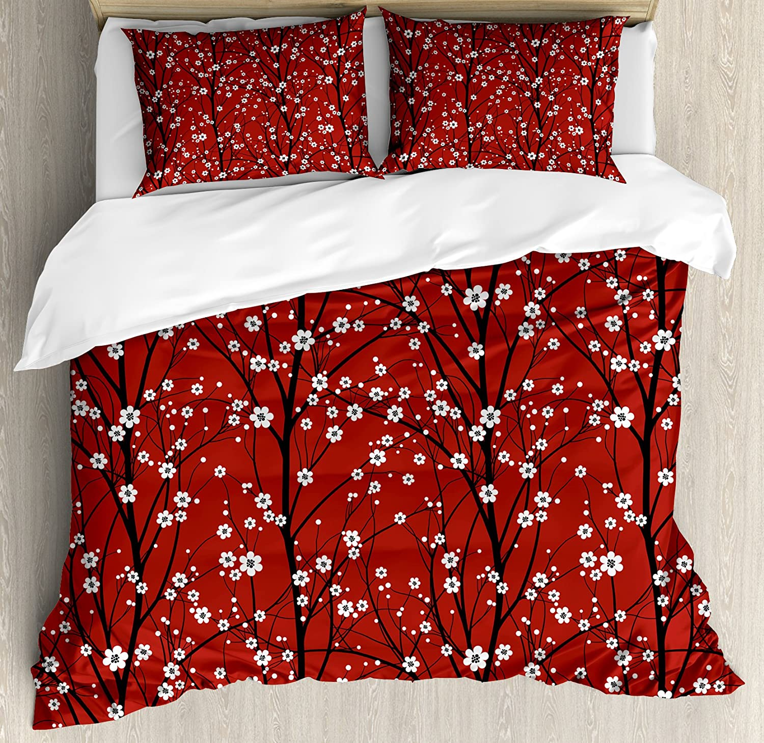 Lunarable Floral Duvet Cover Set, Cherry Blossom Tree Branches Beauty Japanese Traditional Folk Eastern Petals, Decorative 3 Piece Bedding Set with 2 Pillow Shams, King Size, White Scarlet