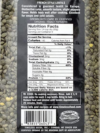 Timeless, Lentils Green Du Puy Style Organic, 16 Ounce