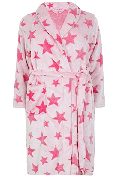 Yoursclothing Womens Super Soft Luxurious Star Fleece Dressing Gown