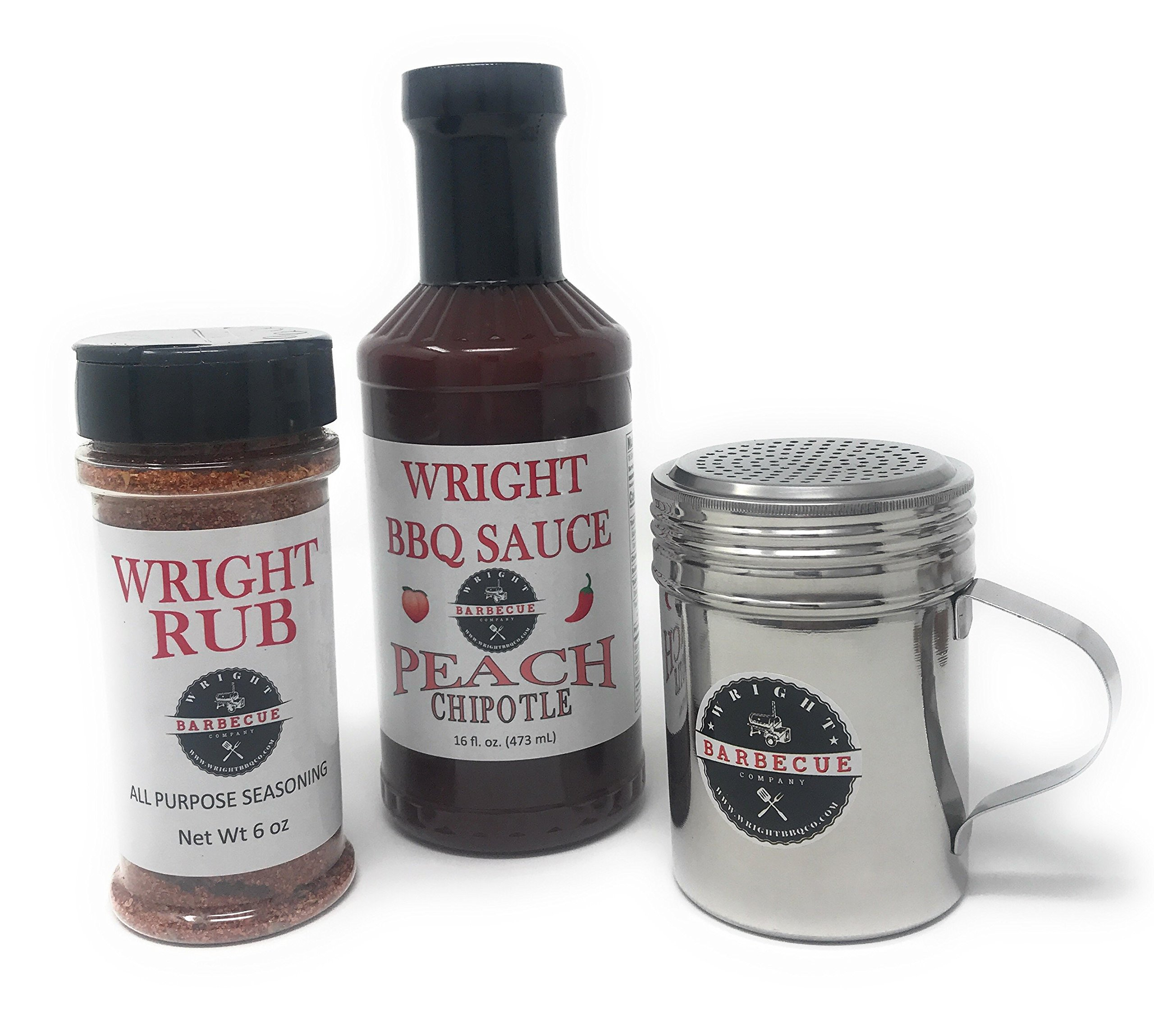 Wright BBQ Company - Peach Chipotle Barbecue Sauce and All Purpose Seasoning Starter Kit (3 Items)
