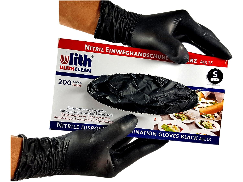 200 piezas de guantes desechables de nitrilo negro sin talco negros Ulith small en diferentes tama/ños