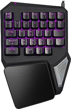Delux T9 PRO - Teclado para juegos con cable USB y teclado para juegos con 29 teclas retroiluminadas LED para LOL (negro)