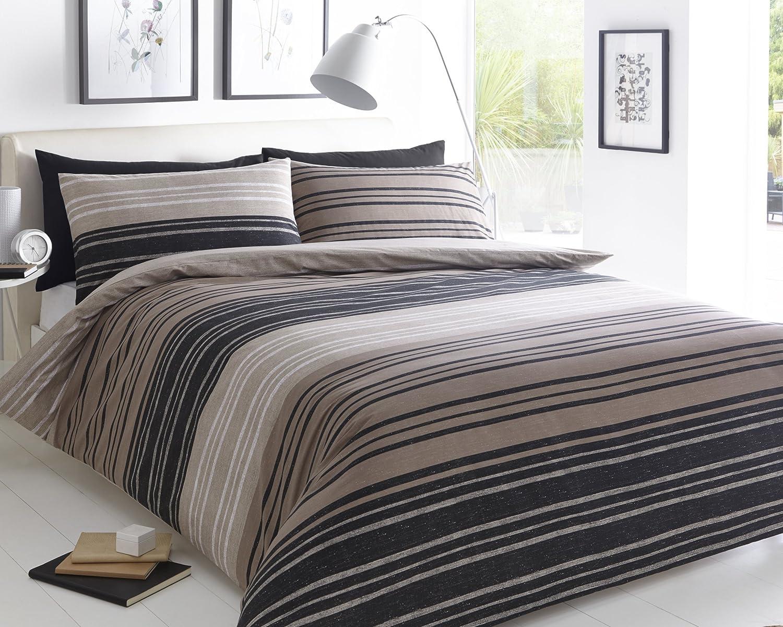 Sleepdown teksturowane paski brązowy pokrowiec na kołdrę i poszewka na poduszkę zestaw pościeli kołdra pojedyncza podwójna King Super King (podwójna)