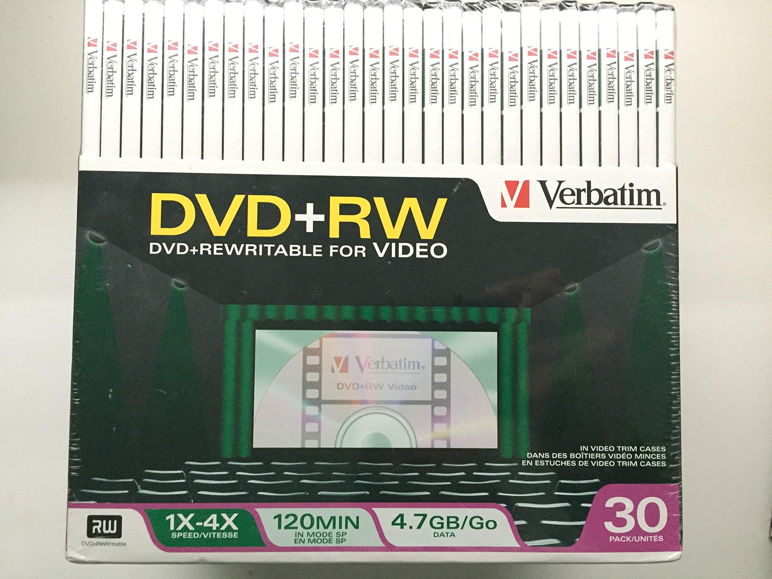 Verbatim 95085 4.7GB 120 Minutes 1X - 4X Rewritable DVD+RW Discs - 30 Pack With Video Trim Cases