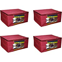 "Virtue Saree Cover Storage Bag Big, Set of 4, 100GSM Non Woven Fabric Cloth 9"" Height Large Design, 17 x 14 x 9 Inches (Maroon)"