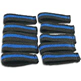 """Bulk Packed Police/Fire/EMS Mourning Bands For Service Badges (Assorted Styles) (10 Thin Blue Line 1/2"""" Mourning Bands For Badges)"""
