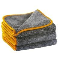 Glart 443TPO Premium Flausch 3er Set Mikrofasertücher, ultraweich für perfekte Auto Lackpflege, Poliertuch, Trockentuch, anthrazit-orange 40 x 40 cm