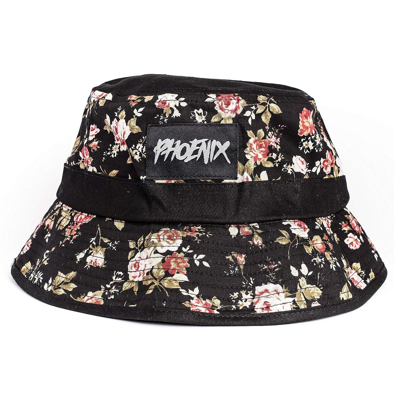 Noir Fleur Rose Blackskies Bucket Hat Chapeau de Soleil Casquette de Baseball Floral Unisexe