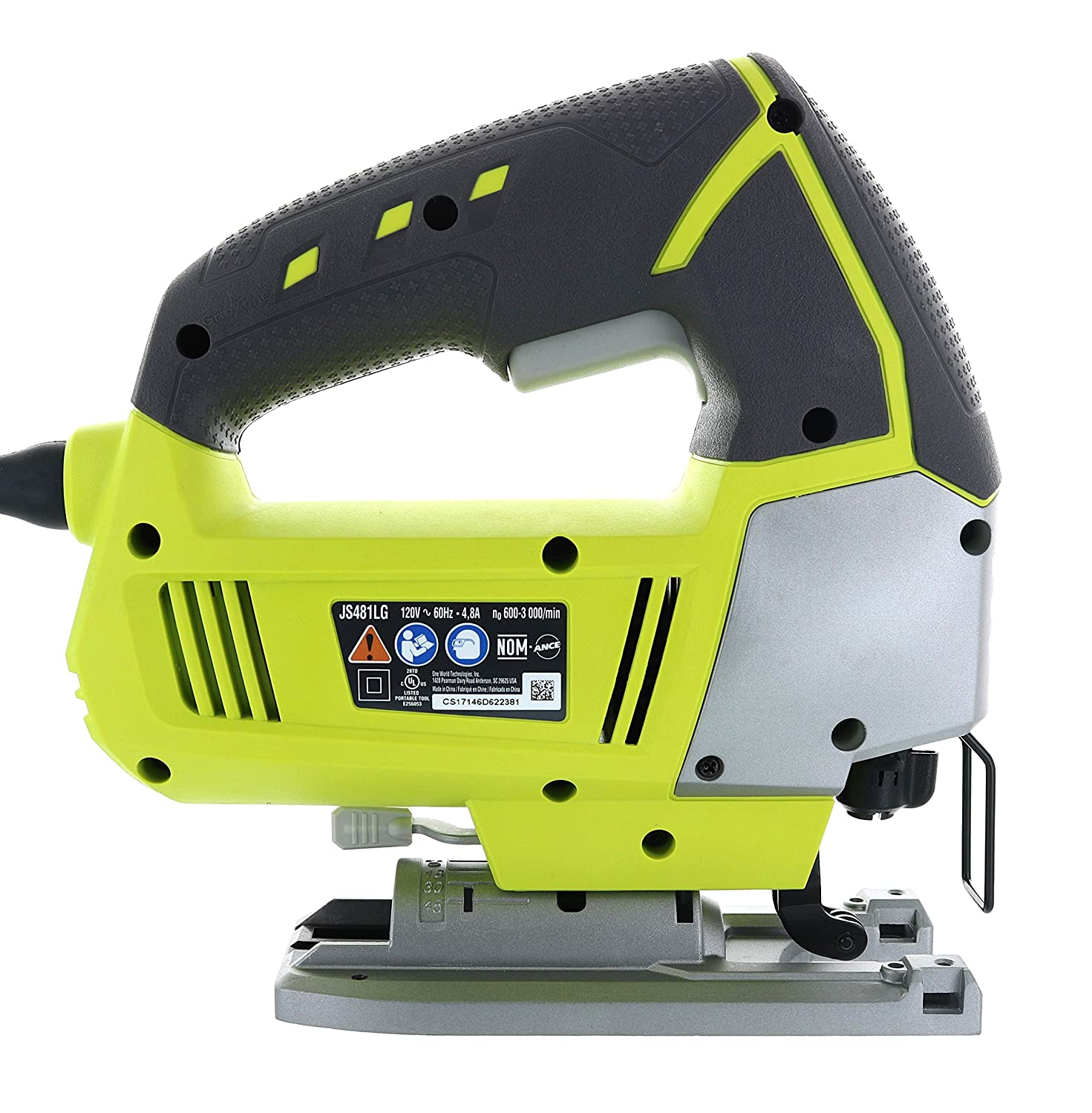 Ryobi JS481LG 4.8 Amp Corded Variable Speed T-Shank Orbital Jig Saw w Onboard LED Lighting System
