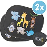 HECKBO® Parasol autoadhesivo para coche - protección solar para niños (2 piezas)   Animales bebés con momia   protección solar para ventanillas de coche   44x36cm   parasol para coche con bolsa incl.