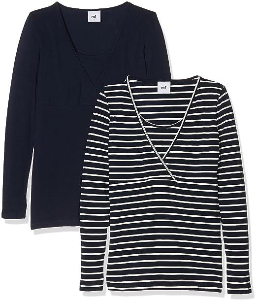 Mama Licious MLLEA Organic Y/D L/S Top 2PACK, Camiseta de Manchas largas premamá Mujer, Azul (Navy Blazer), 40 (Talla del Fabricante: Large)