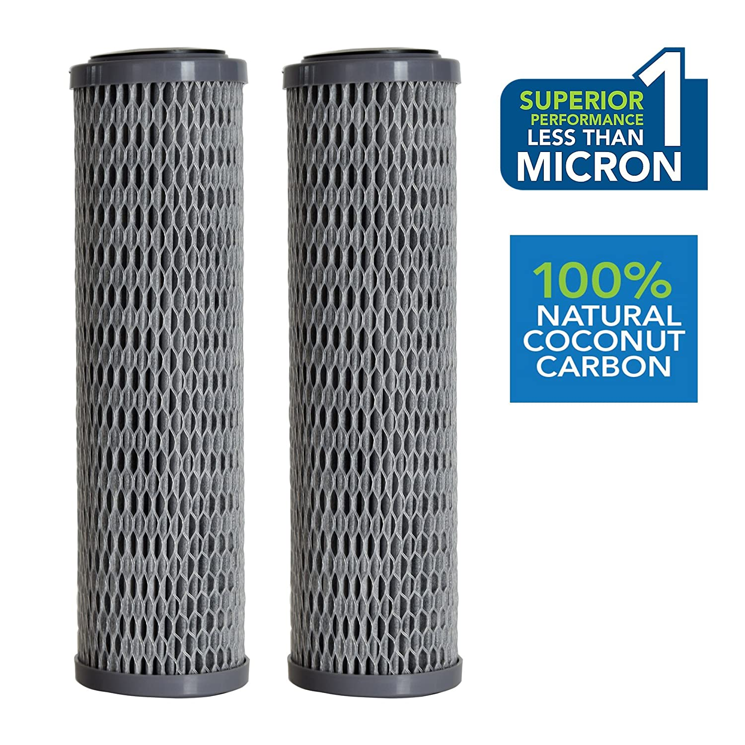Clear2o CUF1252 Universal Advanced Premium Carbon Filter Standard Capacity Whole House & RV Water Filter, 2 Filters Included, Gray (Pack of 2)