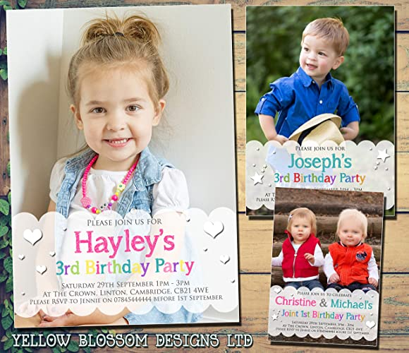 Image Unavailable Not Available For Colour Personalised 1st 2nd Birthday Invitations First Party Invites Photo Boy
