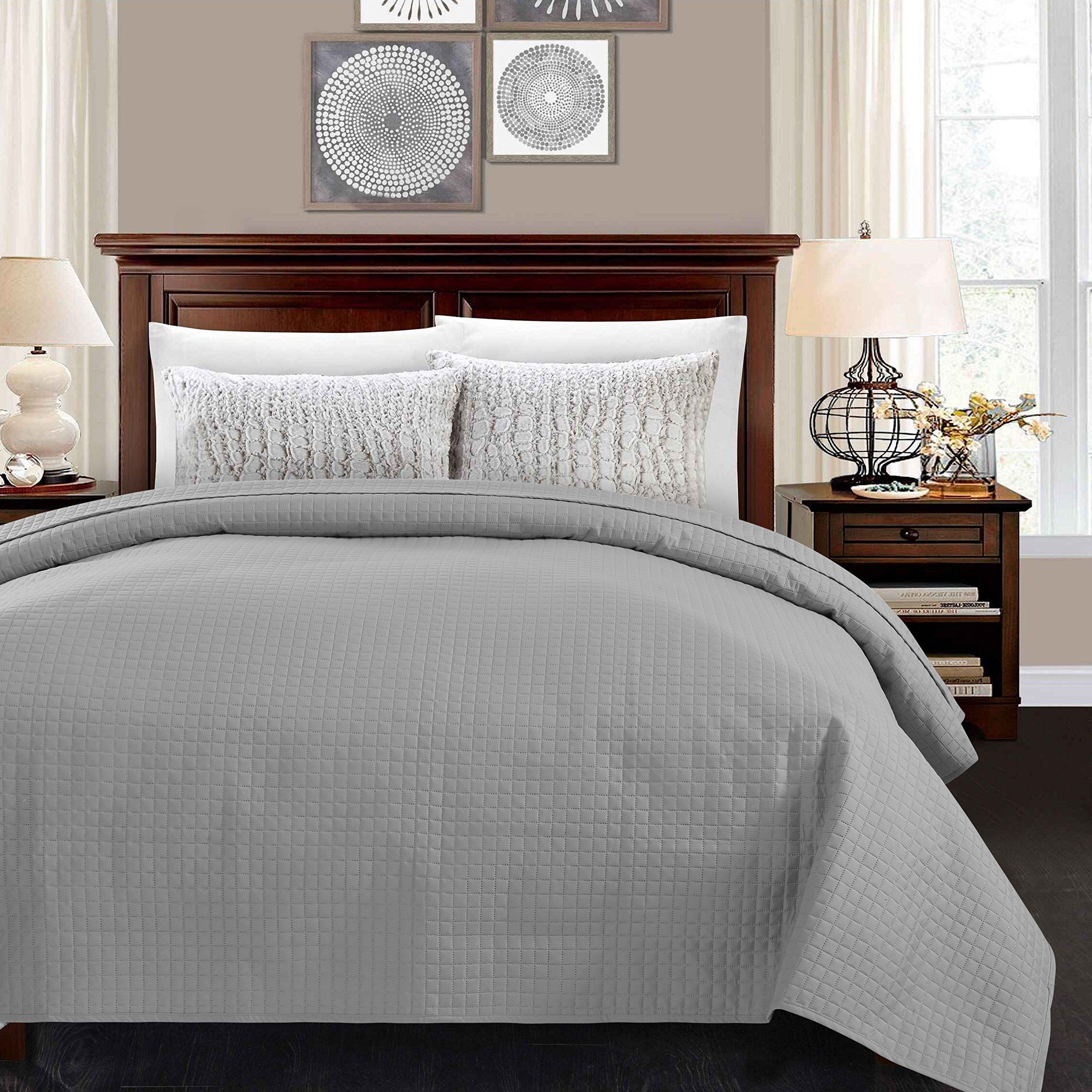ALPHA HOME Lightweight Bed Quilt, Classical Pattern Comforter Bedspread Coverlet Blanket - Queen Size, Grey