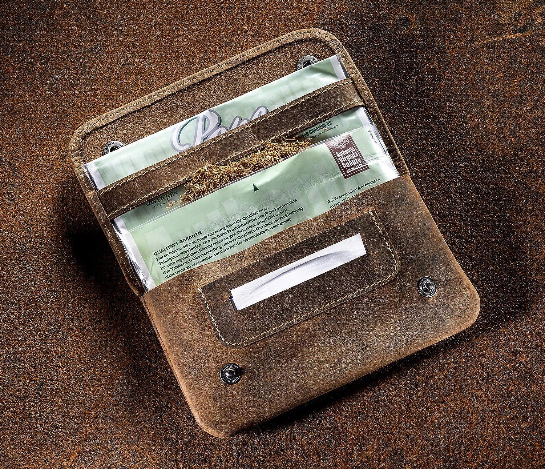 Sac /à Tabac en Cuir v/éritable Aspect us/é Vintage.