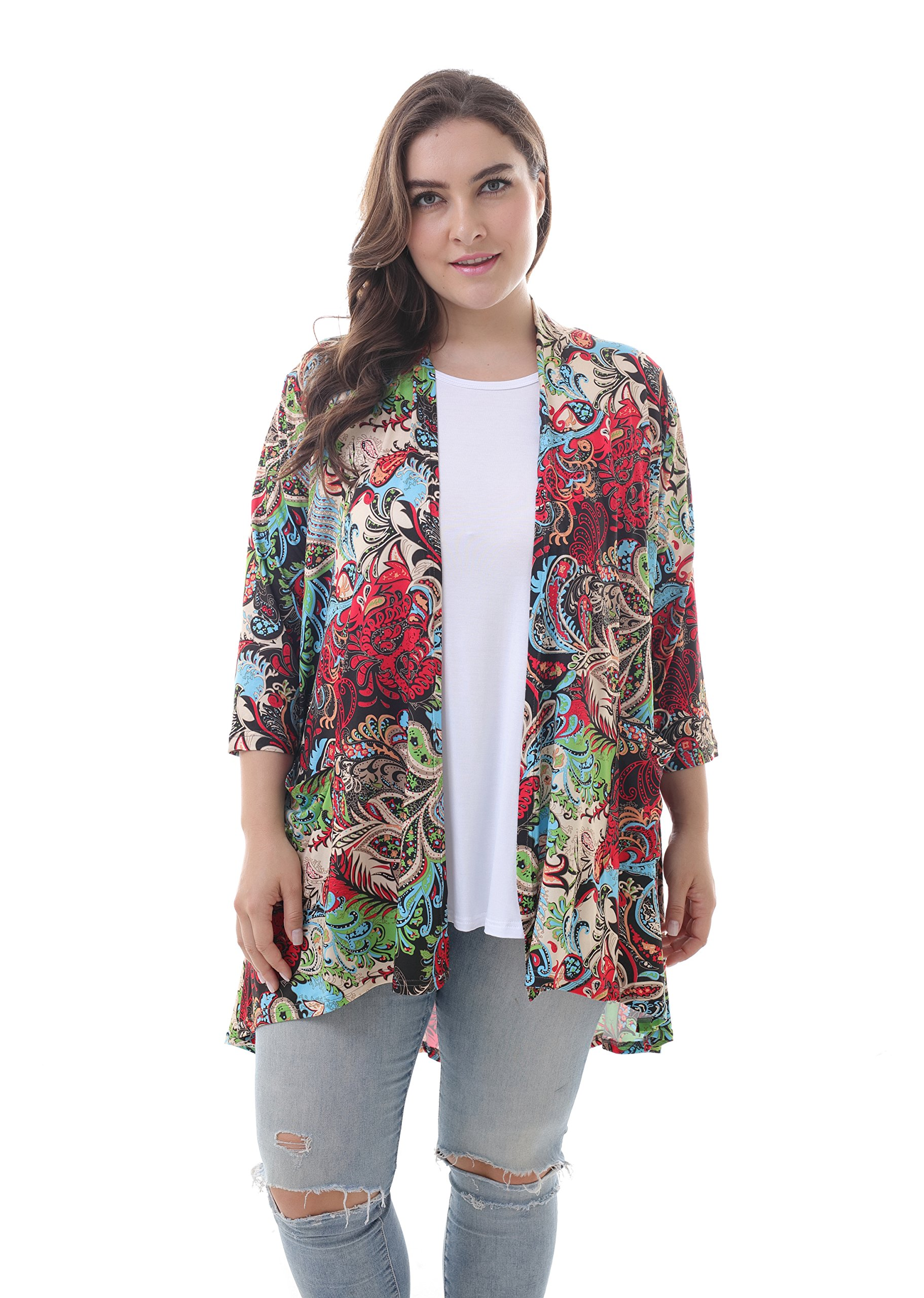 ZERDOCEAN Women's Plus Size 3/4 Sleeve Lightweight Soft Printed Drape Cardigan with Pockets 103 3X