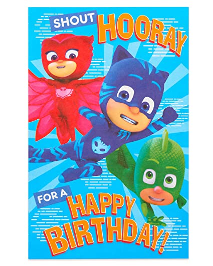 American Greetings PJ Masks Birthday Card with Stickers