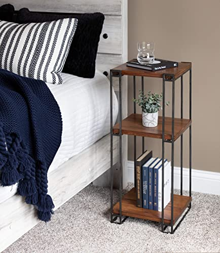 Kate and Laurel Lintz Wood and Metal Plant Tea Table with Three Shelves, Rustic Caramel Finish