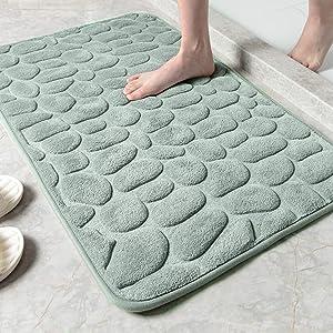 "SHANNA Bath Mat, Memory Foam Fast Water Absorbent Super Soft Cozy Non Slip Bathroom Rugs, Machine Washable, Easy Dry, Foot Cushioned Bath Rug Carpet, Grey,20""x32"""