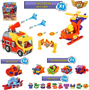 SuperZings Serie 5 – Fire Strike Mission 5 y Pack Sorpresa con 16 Sets | Contiene Blíster Fire Strike, 10 Sobres One Pack, 4 Aerowagons y 2 Skyracers | Juguetes y Regalos para Niños: Amazon.es: Juguetes y juegos