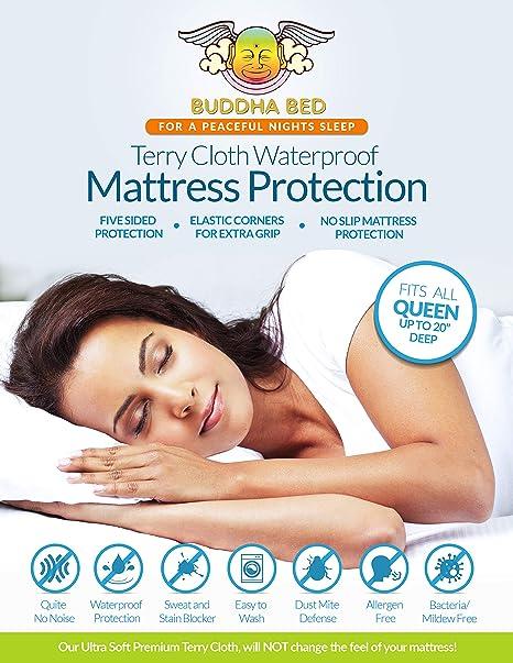Reina Protector de colchón. 100% waterproof- bloques sudor, manchas, orina. Protección de cama Bugs, ...