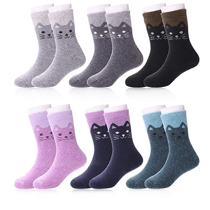 LANLEO 6 Pairs Children s Winter Thick Warm Soft Cute Animal Crew Wool Socks  For Kids Boys 24a3fa0354ce