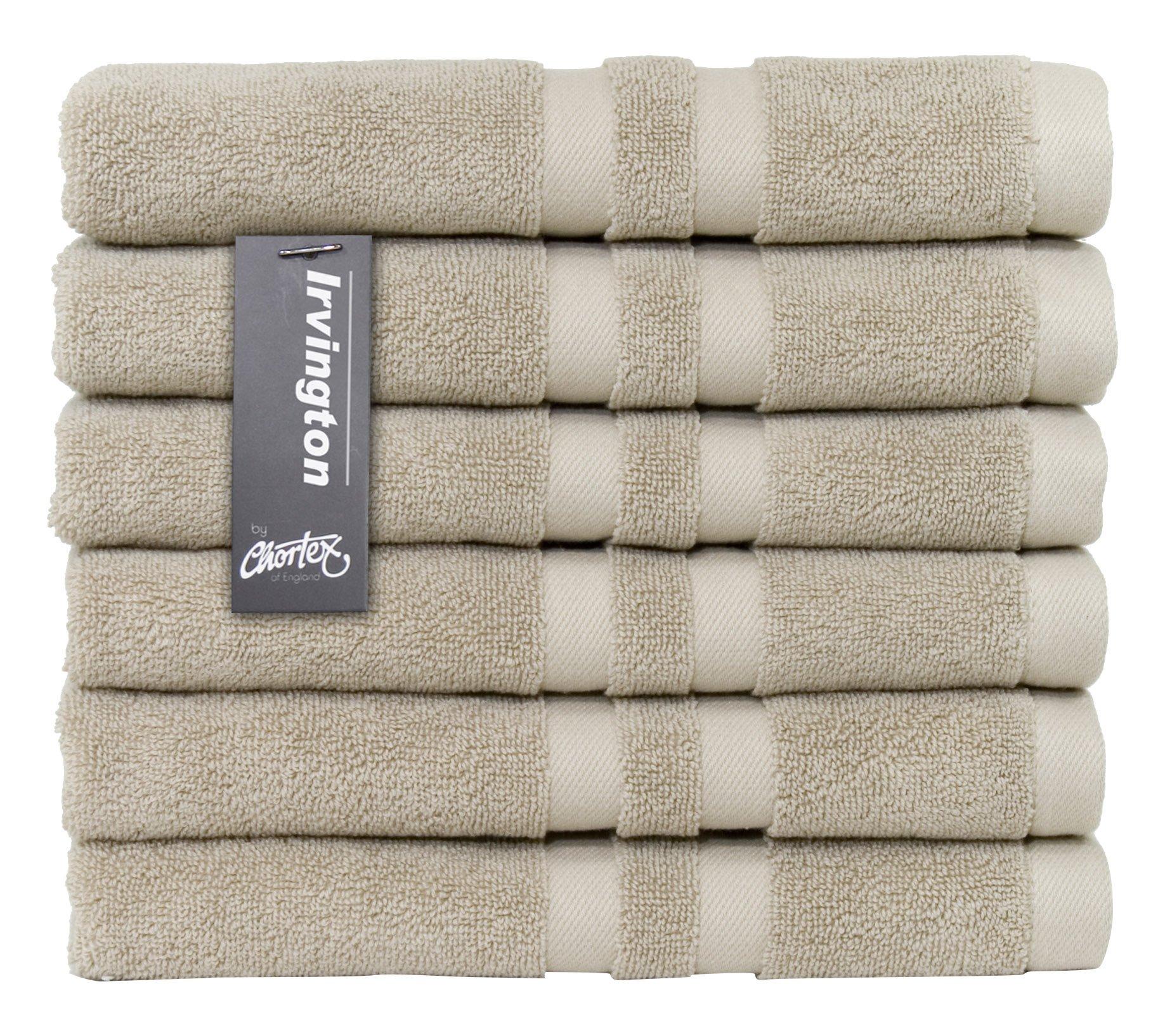 Chortex Luxury Turkish Cotton Hand Towel (6 Pack), Pack of 6, Flax