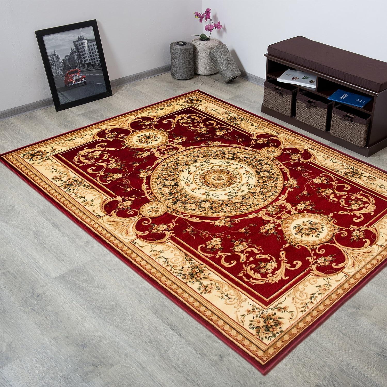 Tapiso YESEMEK Klassisch Teppich Kurzflor Orientalisch Teppiche Floral Medaillon Medaillon Medaillon Muster und Bordüre in Creme Beige Barock Design Wohnzimmer ÖKOTEX 140 x 190 cm 936483