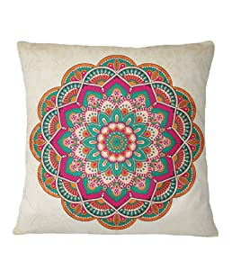 S4Sassy Mandala Printed Beige Throw Pillow Case Decorative Cushion Cover - Choose Size