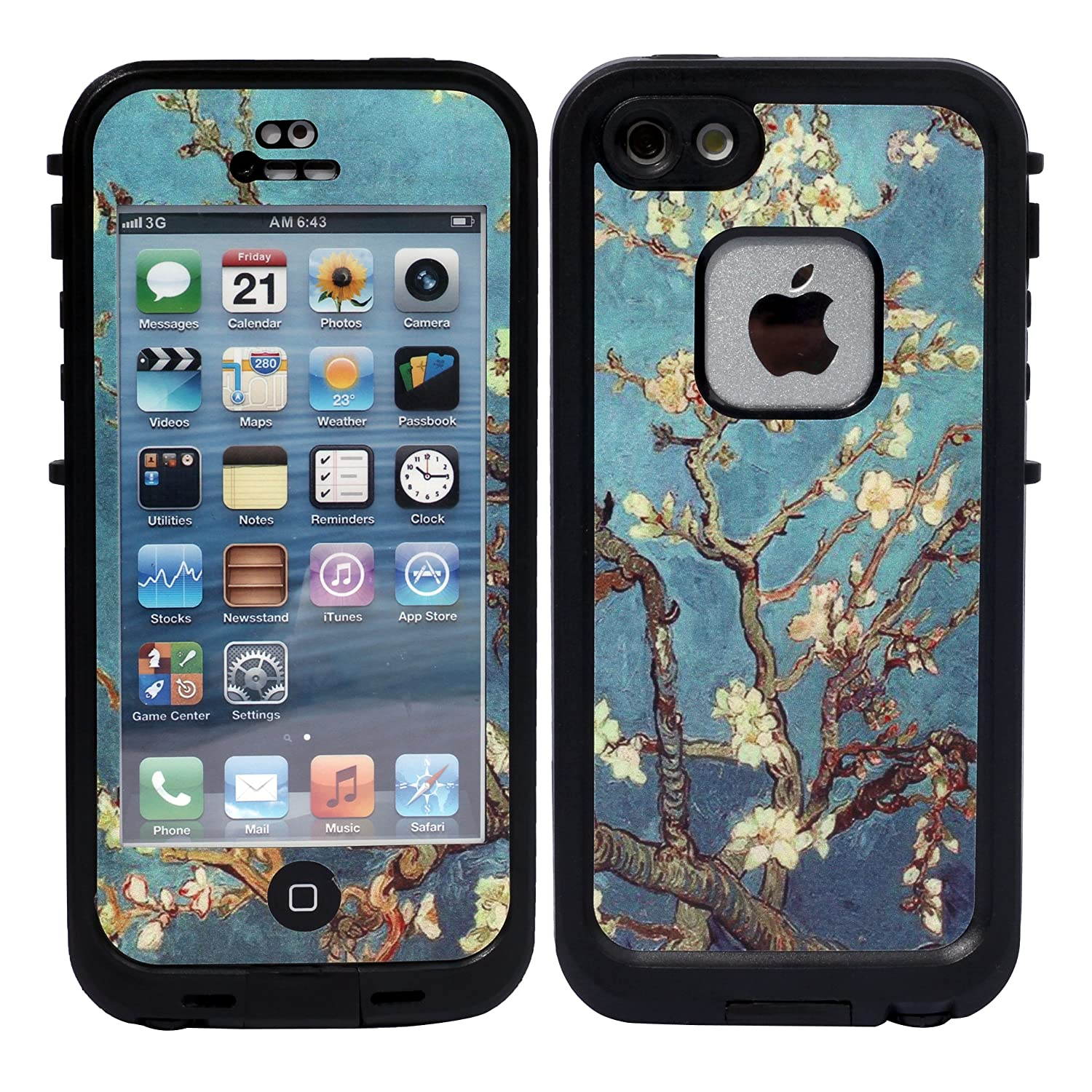 Amazon com wisdompro colorful decorative vinyl decal skin stickers for lifeproof iphone 5 5s se fre case art tree cell phones accessories