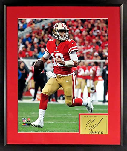 "aa37c42d1 Amazon.com  SF 49ers Jimmy Garoppolo ""JIMMY G!"" 16x20 Photograph (SGA  Signature Engraved Plate Series) Framed  Sports Collectibles"