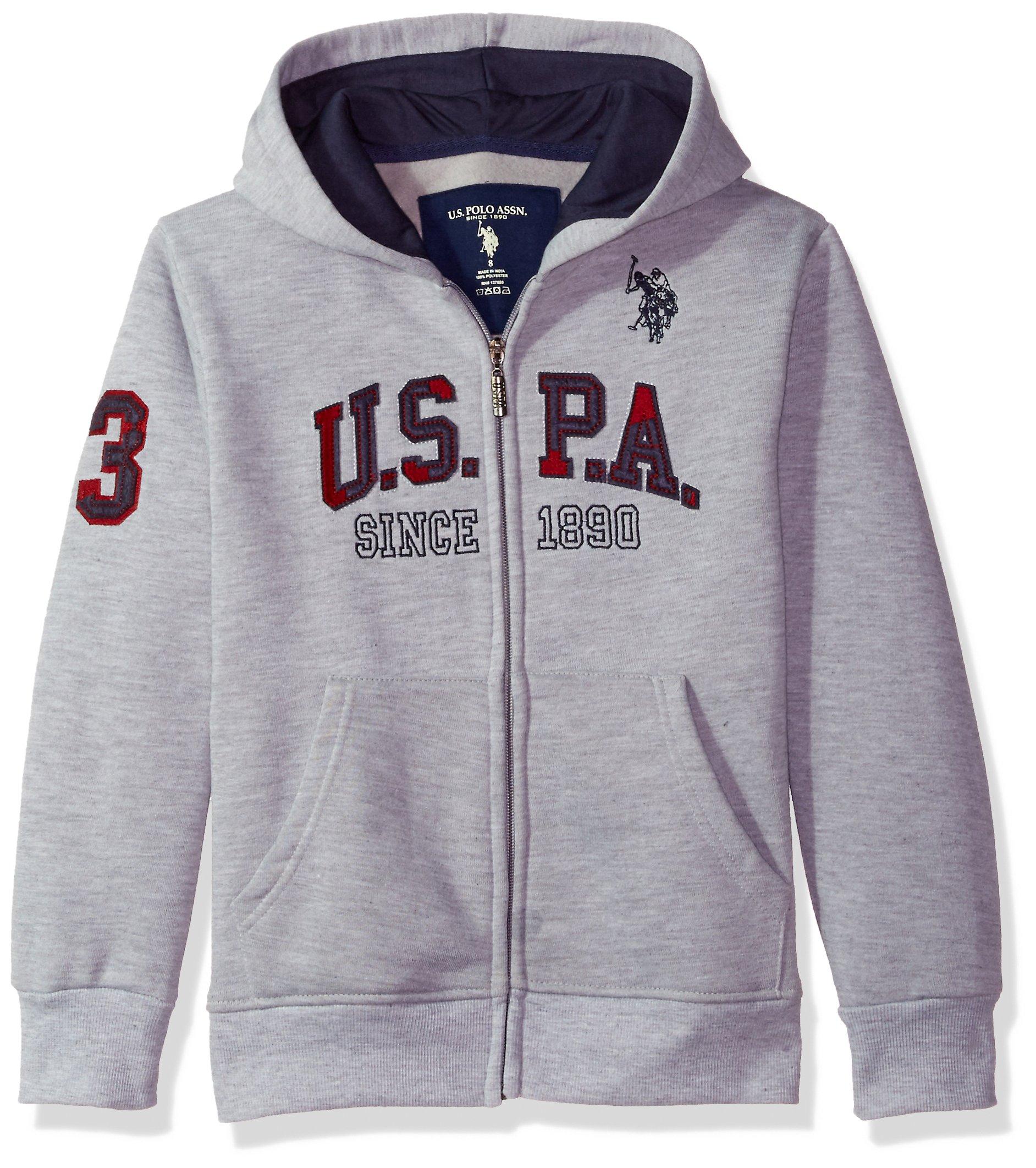 U.S. Polo Assn. Big Boys' Hooded Zip or Snap Fleece Jacket, All All Star Light Heather Gray 8