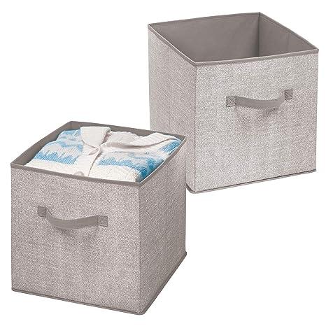 mDesign Juego de 2 organizadores de tela – Cajas de almacenaje para el armario – Cajas