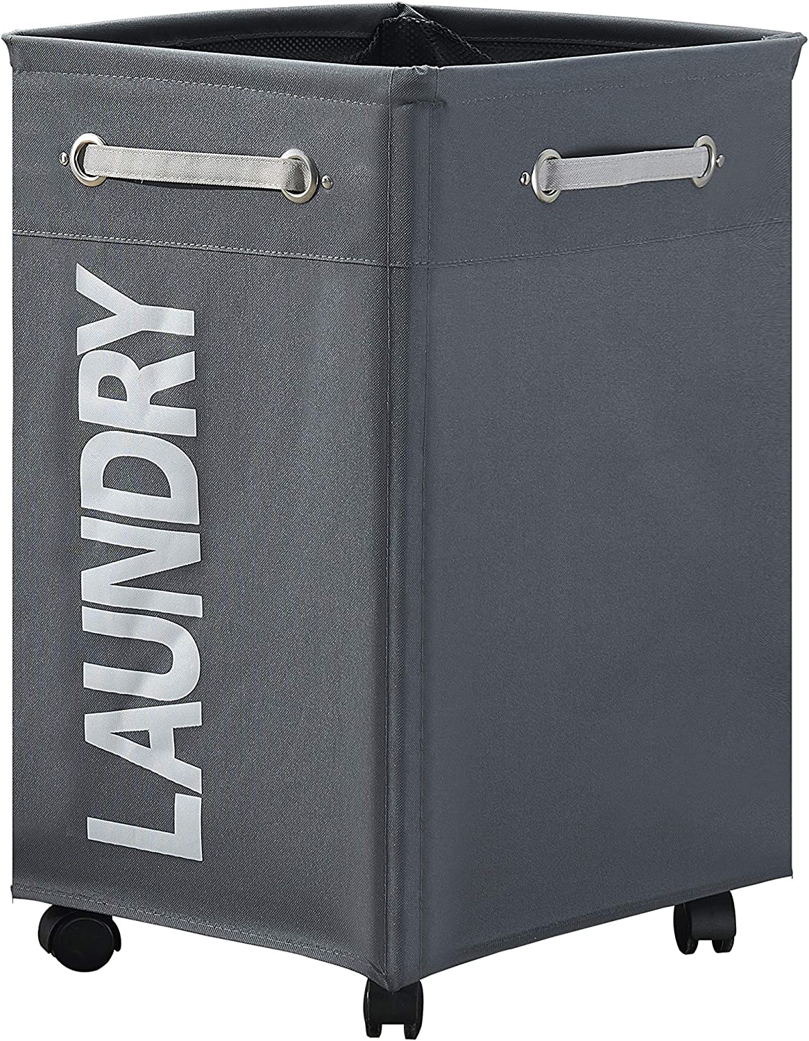 """HOMEAMY 23"""" Wheeled Laundry Hamper Large Collapsible with Breathable Cover Heavy Duty Laundry Sorter Dirty Clothes Organizer Bin Waterproof Foldable Laundry Basket Rolling Extra Large Bag (Dark Gray)"""