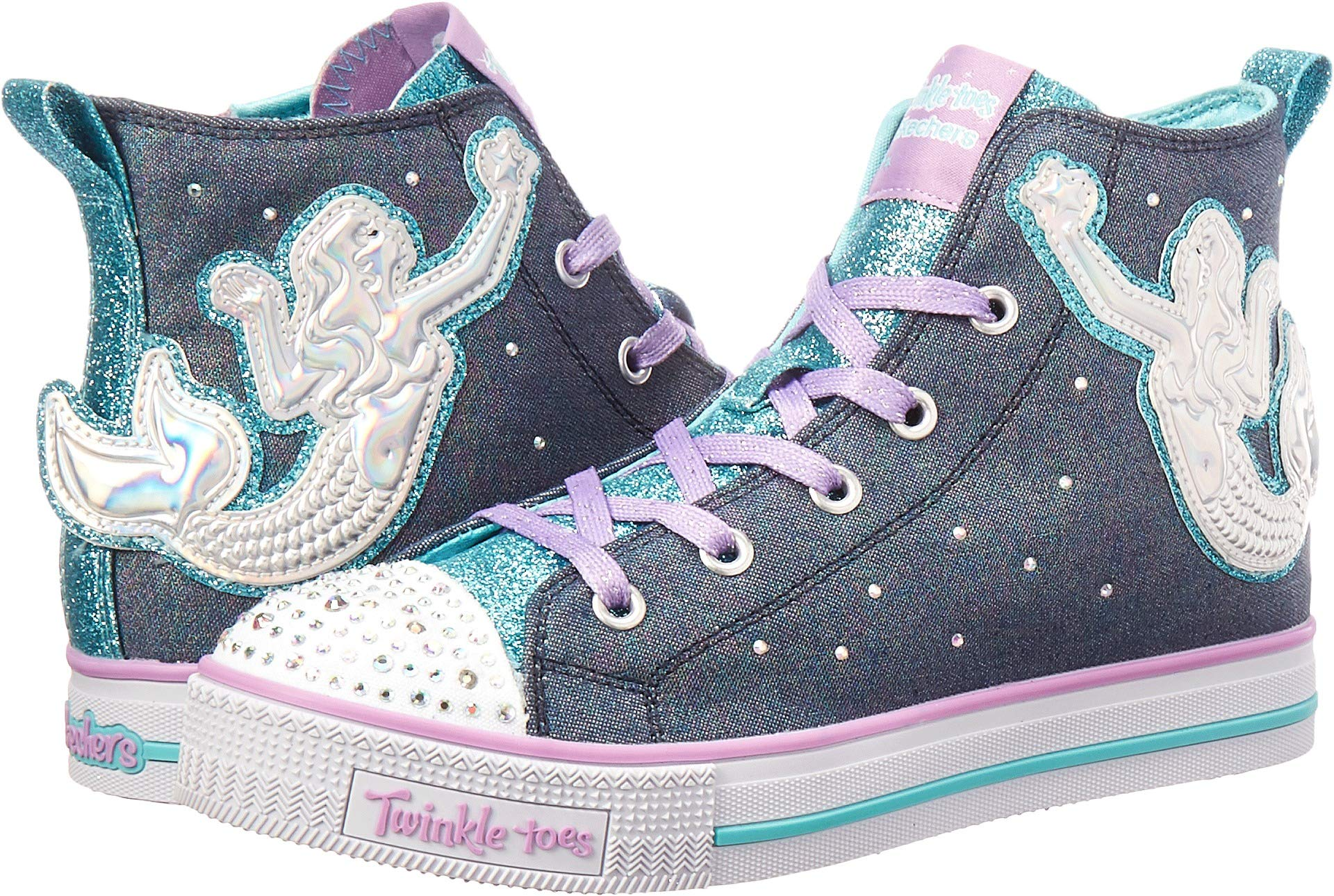 Skechers Kids Girls' Twinkle Lite-Magnificent Merm Sneaker, Denim/Multi, 4 Medium US Big Kid