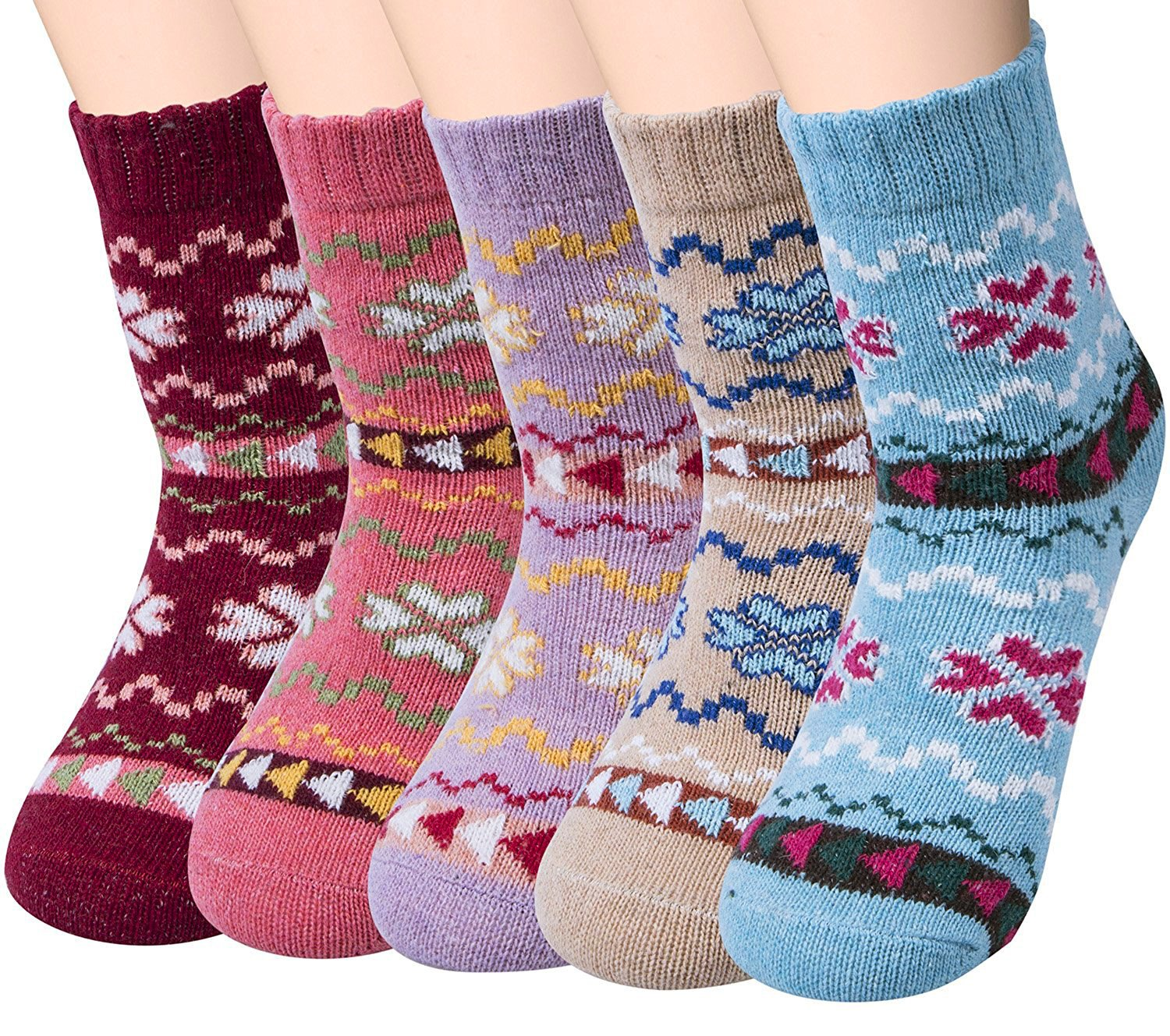 Loritta 5 Pairs Womens Vintage Style Winter Soft Warm Thick Knit Wool Crew Socks,Multicolor 03,One Size