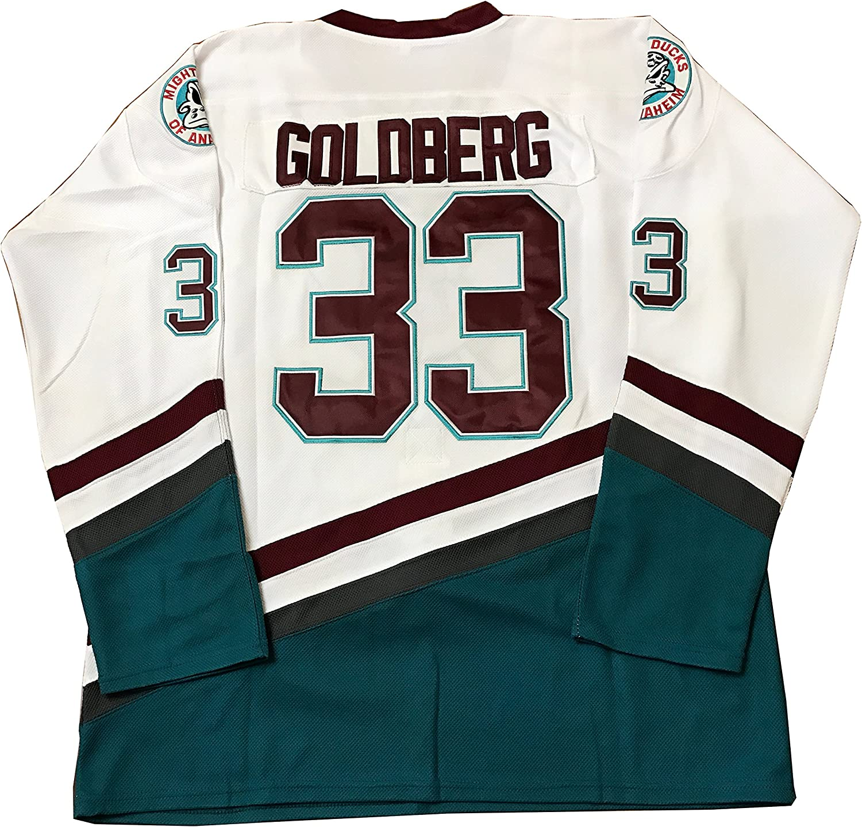 Adult Mens Mighty Ducks Hockey Green Jersey GOLDBERG #33