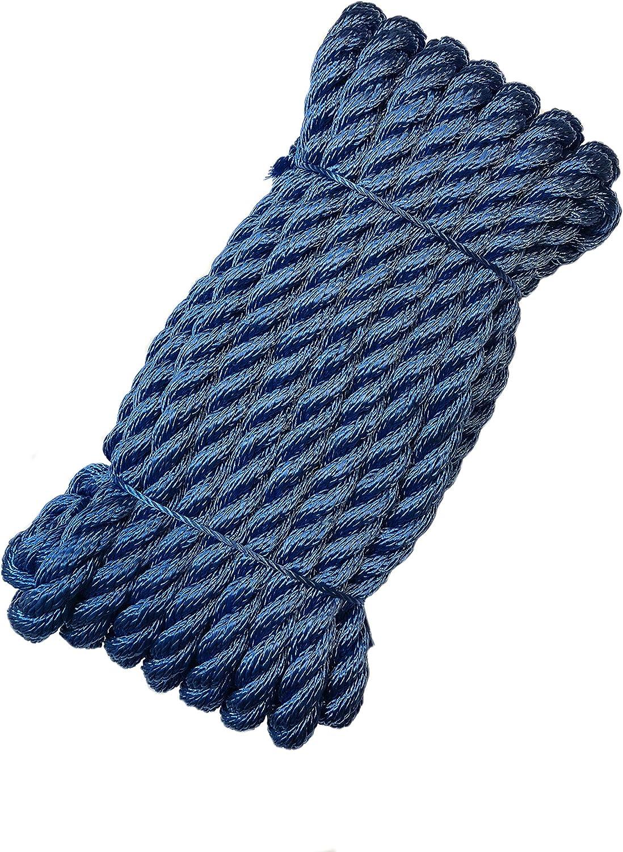 color blanco//azul /Poli/éster PES/ Blanco cuerda de amarre con ojo gesplei/ßt/ Green Home amarre de cuerda /roc/ío para pasamanos de cuerda