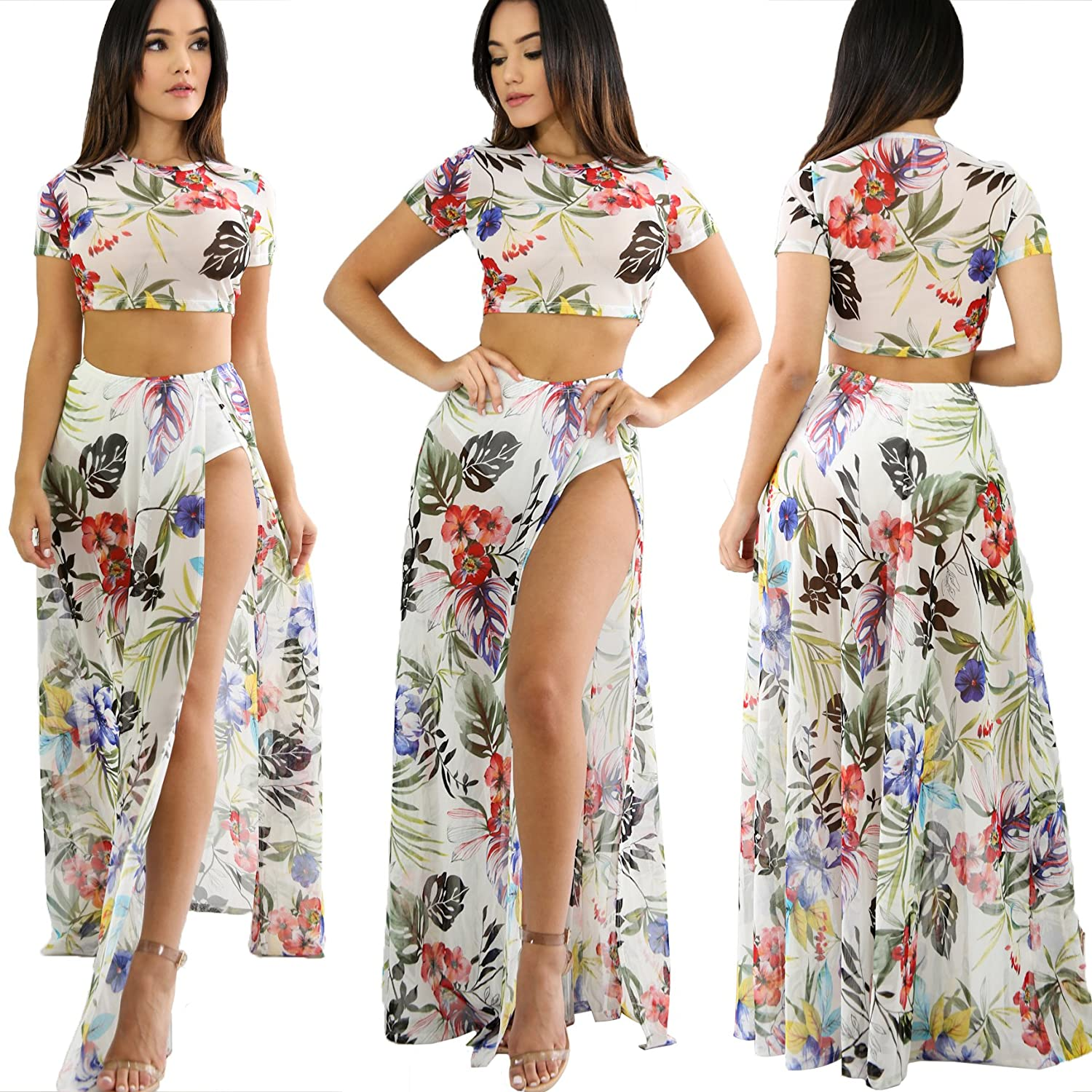 ec76f0a09a Chicmay Womens Sexy Sheer Floral Print 2 Piece Outfits Crop Top Side Split  Skirt Set Maxi Dress at Amazon Women s Clothing store