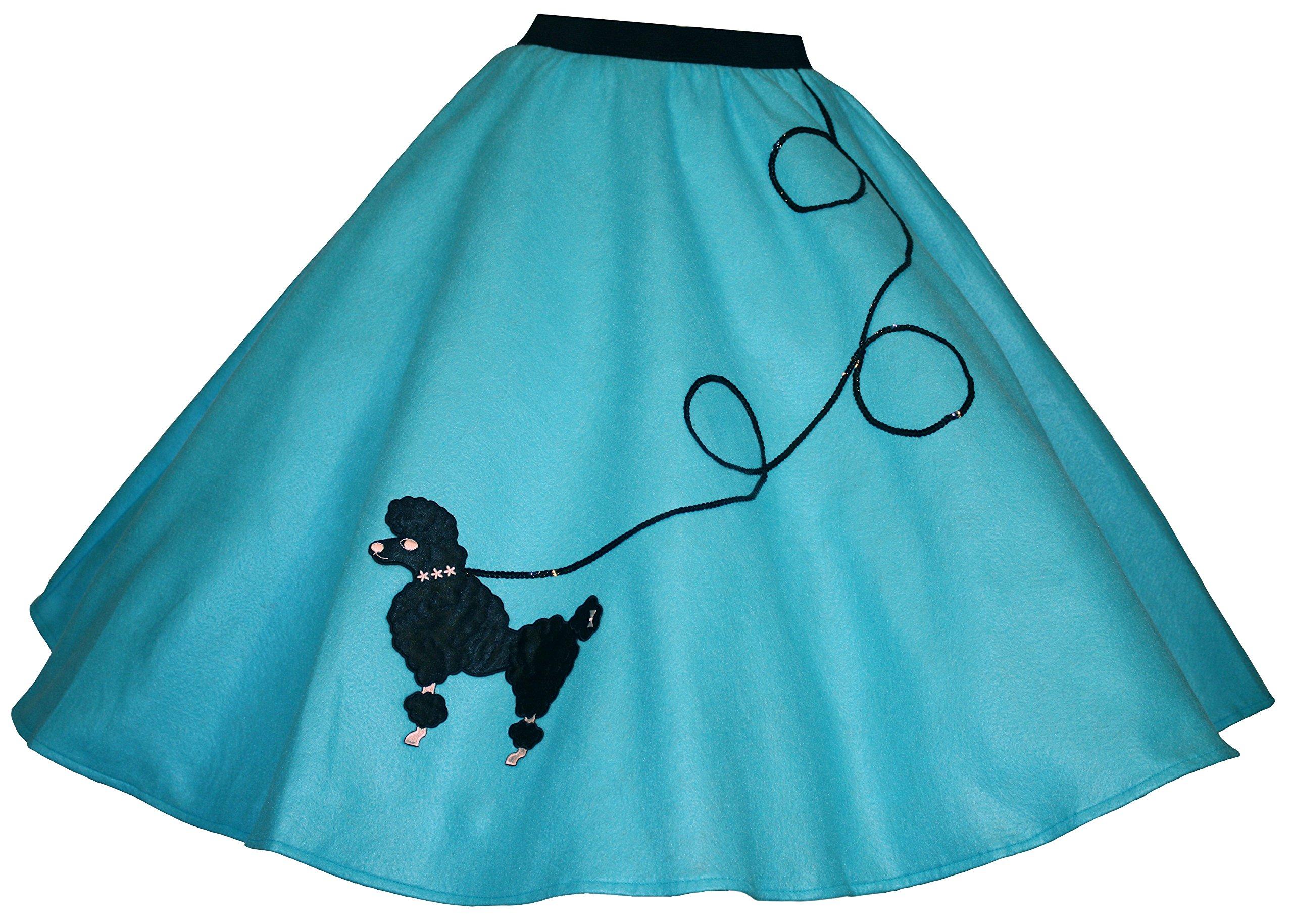 3 BIG NOTES - Adult FELT Poodle Skirt Size XL (40''- 50'') Aqua Blue