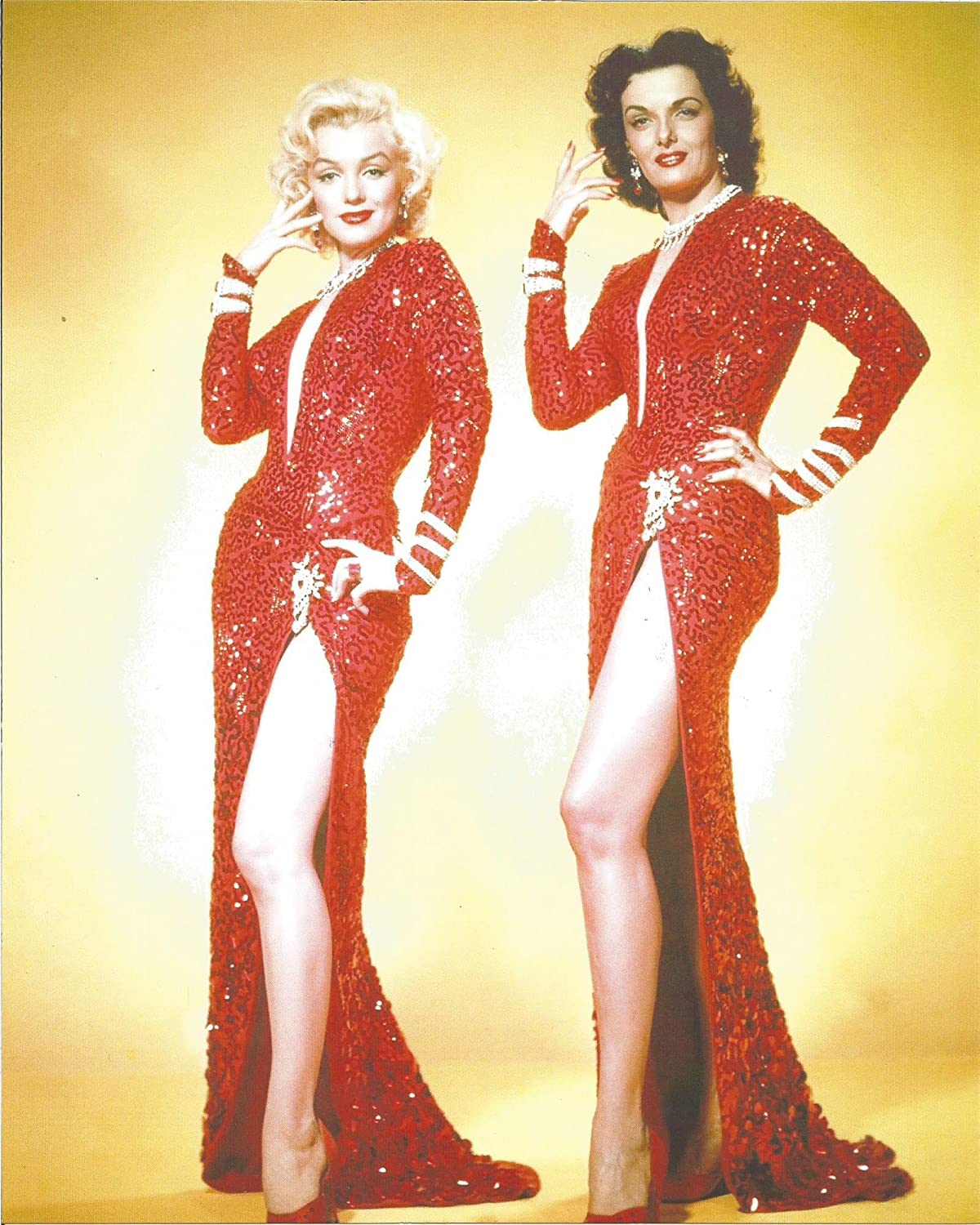 Marilyn Monroe Jane Russell red dresses with lots of thigh in ...