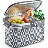 VonShef Geo Grey 22L Cooler Hamper Bag – Aluminium Insulated Cooler with Collapsible Handle