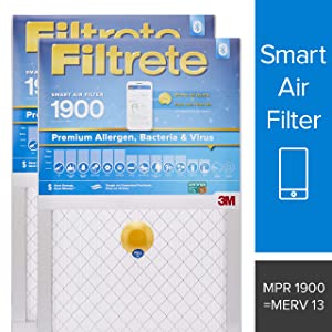 Filtrete Smart Filter 16 x 25 x 1 MPR 1900 Premium Allergen, Bacteria & Virus AC Furnace Air Filter enabled with Amazon Dash Replenishment, 2-Pack