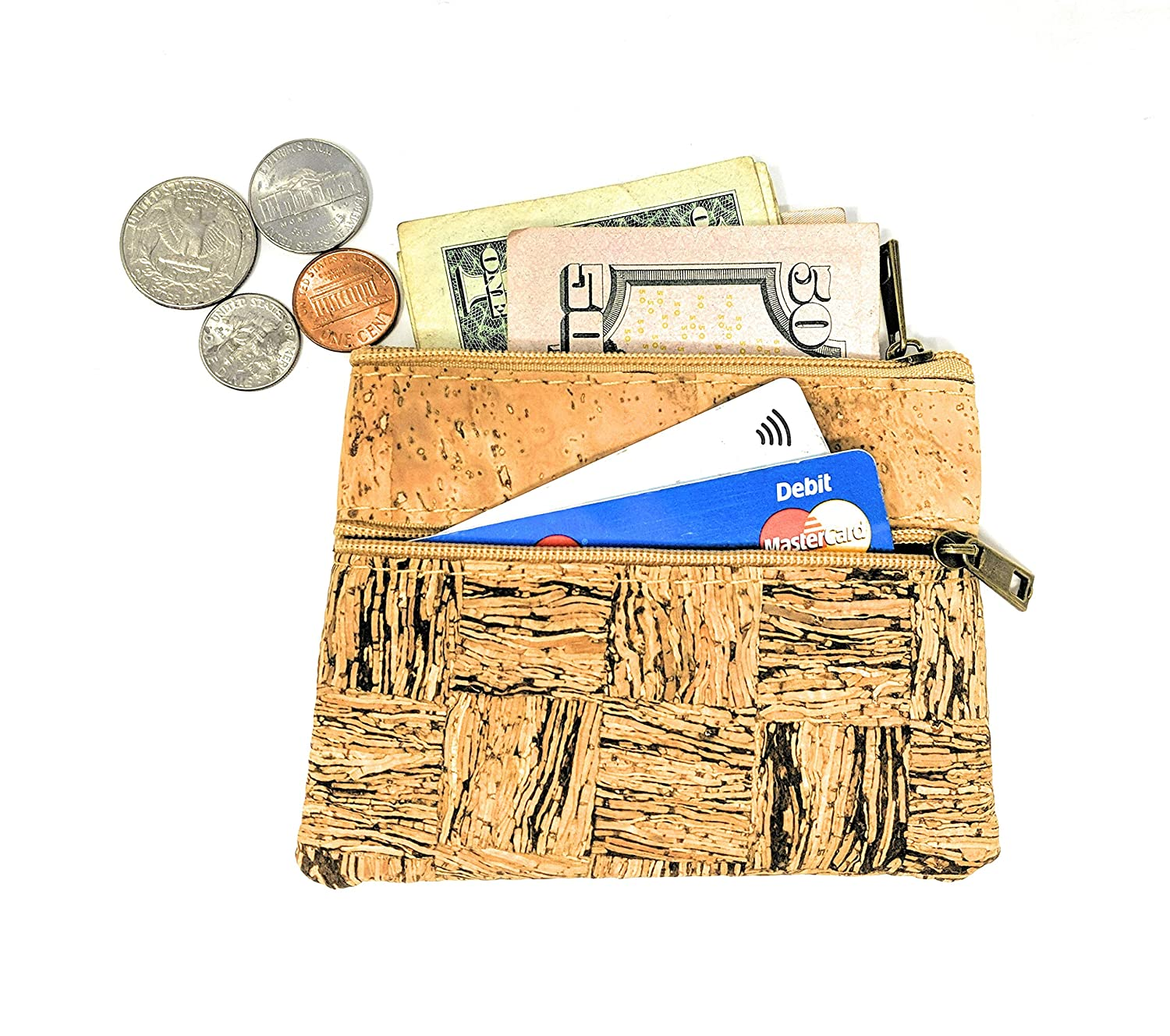 Coin Purse for Women - Handmade in Portugal from Cork Leather - Cork Street Zippered Small Change Pouch
