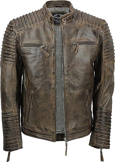 Xposed Veste en cuir véritable style rétro pour homme Marron