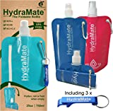 FOLDABLE WATER BOTTLE - BPA Free. Collapsible 26oz/750ml. HydraMate Lightweight, Soft, Squeezable, Eco-Friendly Folding Bottle for Travel. Sports Cap, Hygienic Safety Lid. Refillable. Carabiner Clip.